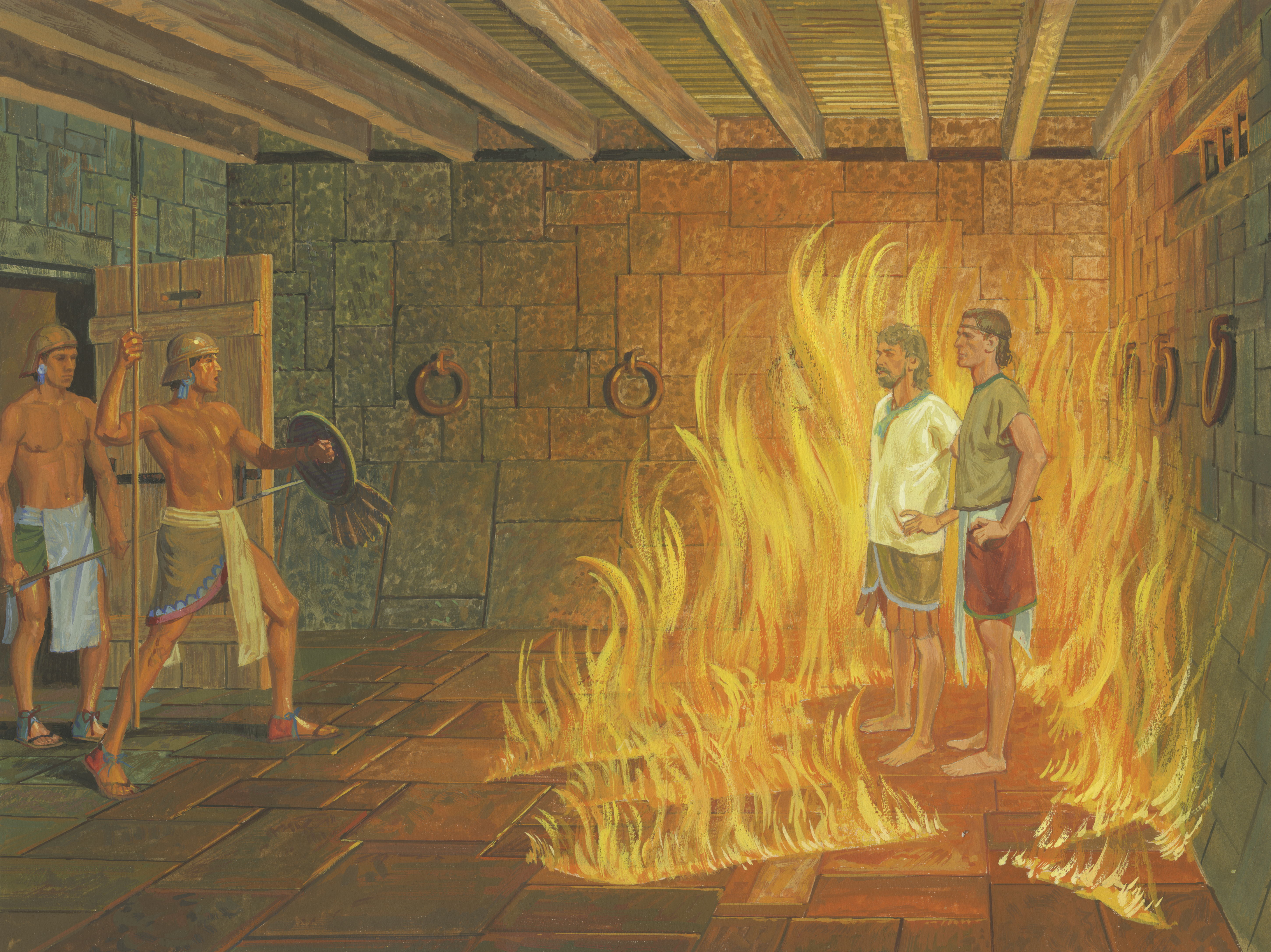 A painting by Jerry Thompson depicting Nephi and Lehi in prison; Primary manual 4-41