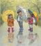 Children in the rain with umbrellas