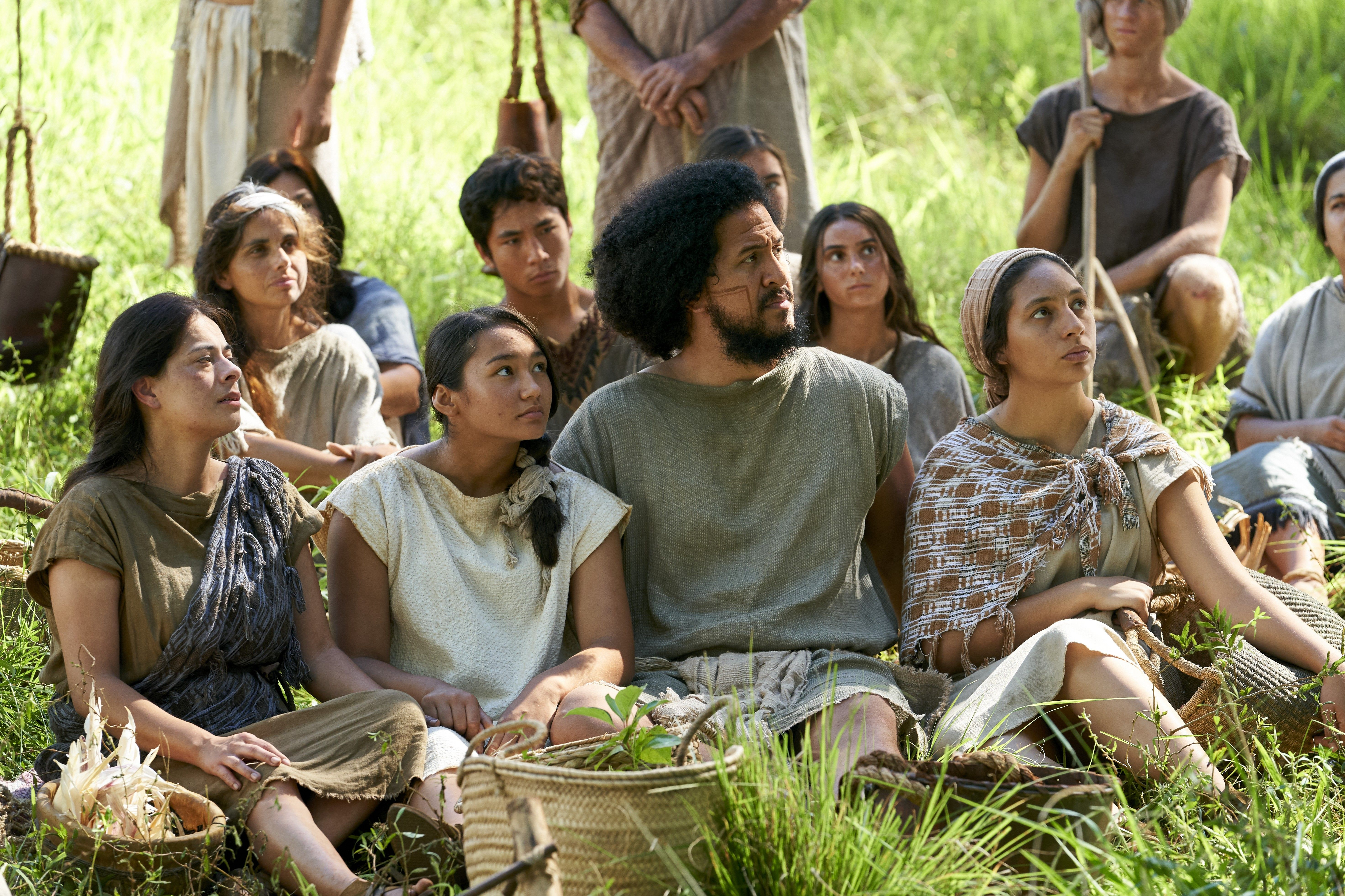 The poor among the Zoramites listen as Alma and Amulek speak to them in the land of Antionum.