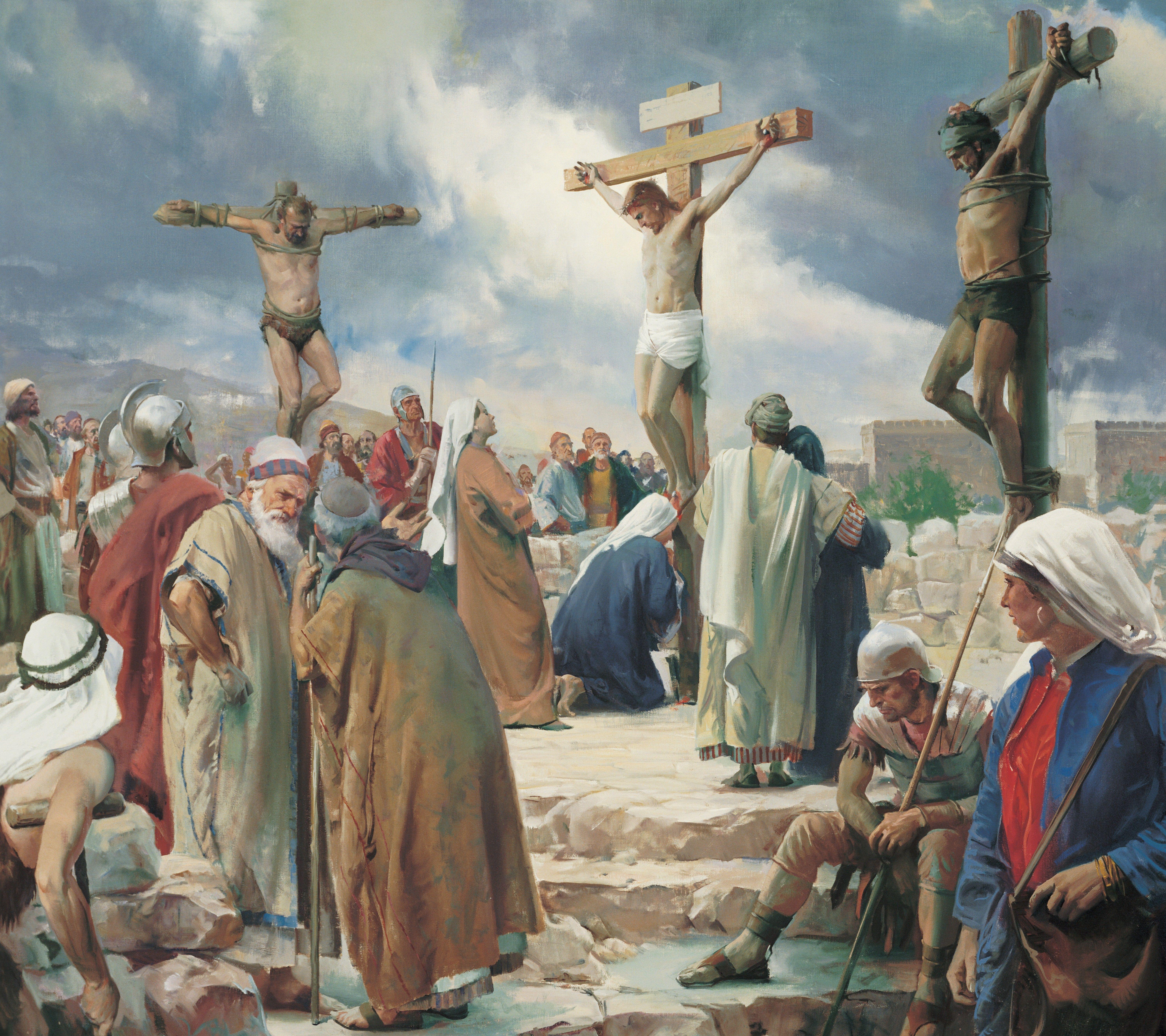 The Crucifixion, by Harry Anderson (62505); GAK 230; GAB 57; Primary manual 1-59; Primary manual 2-61; Primary manual 3-71; Primary manual 4-11; Primary manual 6-27; Primary manual 7-33; Psalm 22:16; Matthew 27:31–50; Mark 15:20–37; Luke 23:33–46; John 19:16–37; 1 Nephi 19:10; 2 Nephi 5; 6:9; 10:3; 25:13; Mosiah 3:9; 15:7