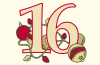 numeral 16 with ornaments and lights