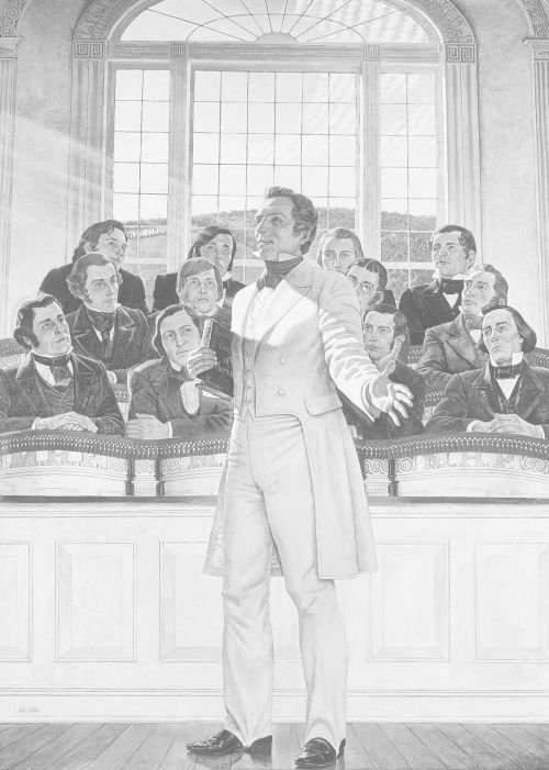 Joseph Smith instructs the Apostles in the Kirtland Temple.