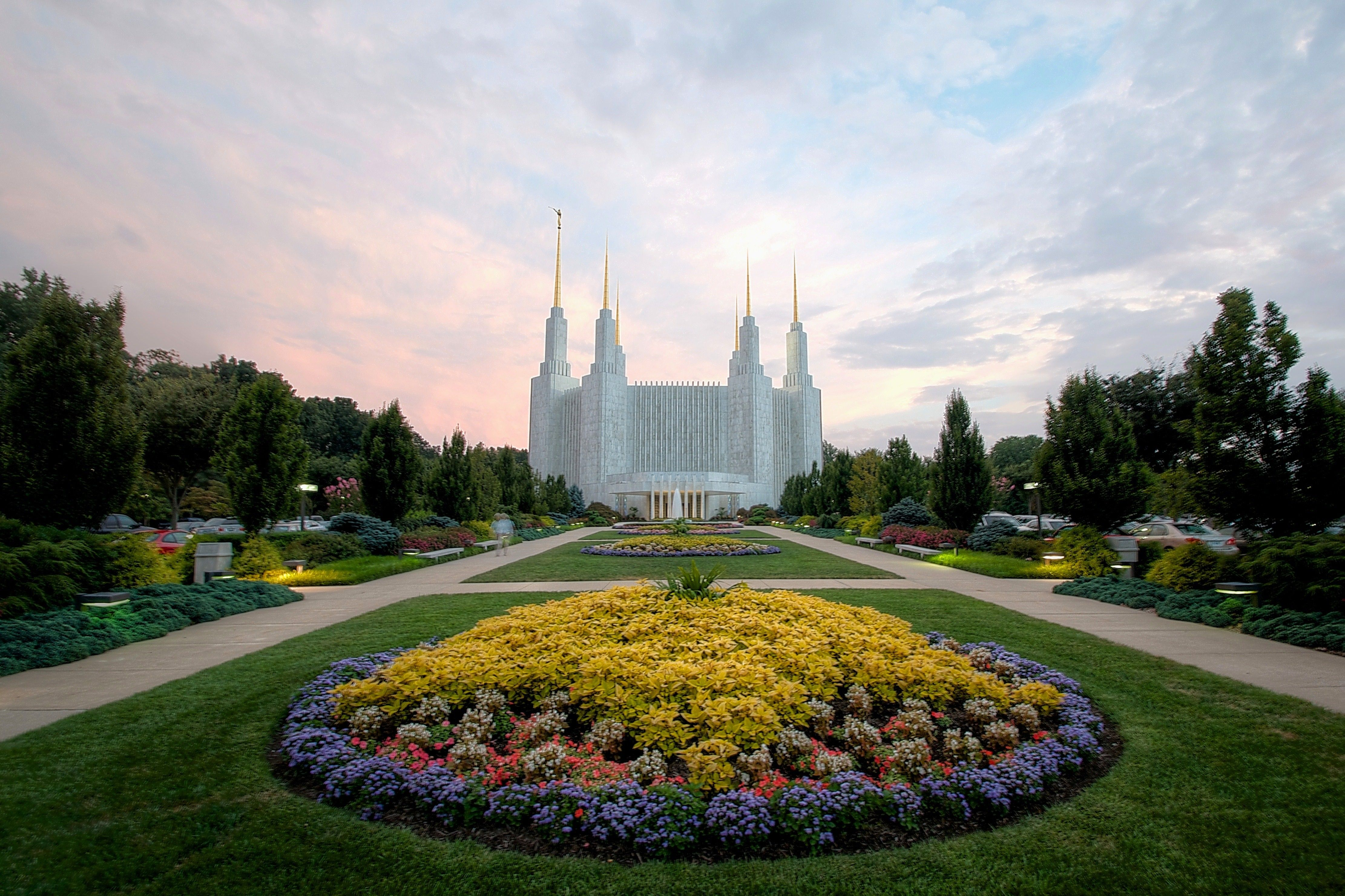 The Washington D.C. Temple entrance, with scenery.