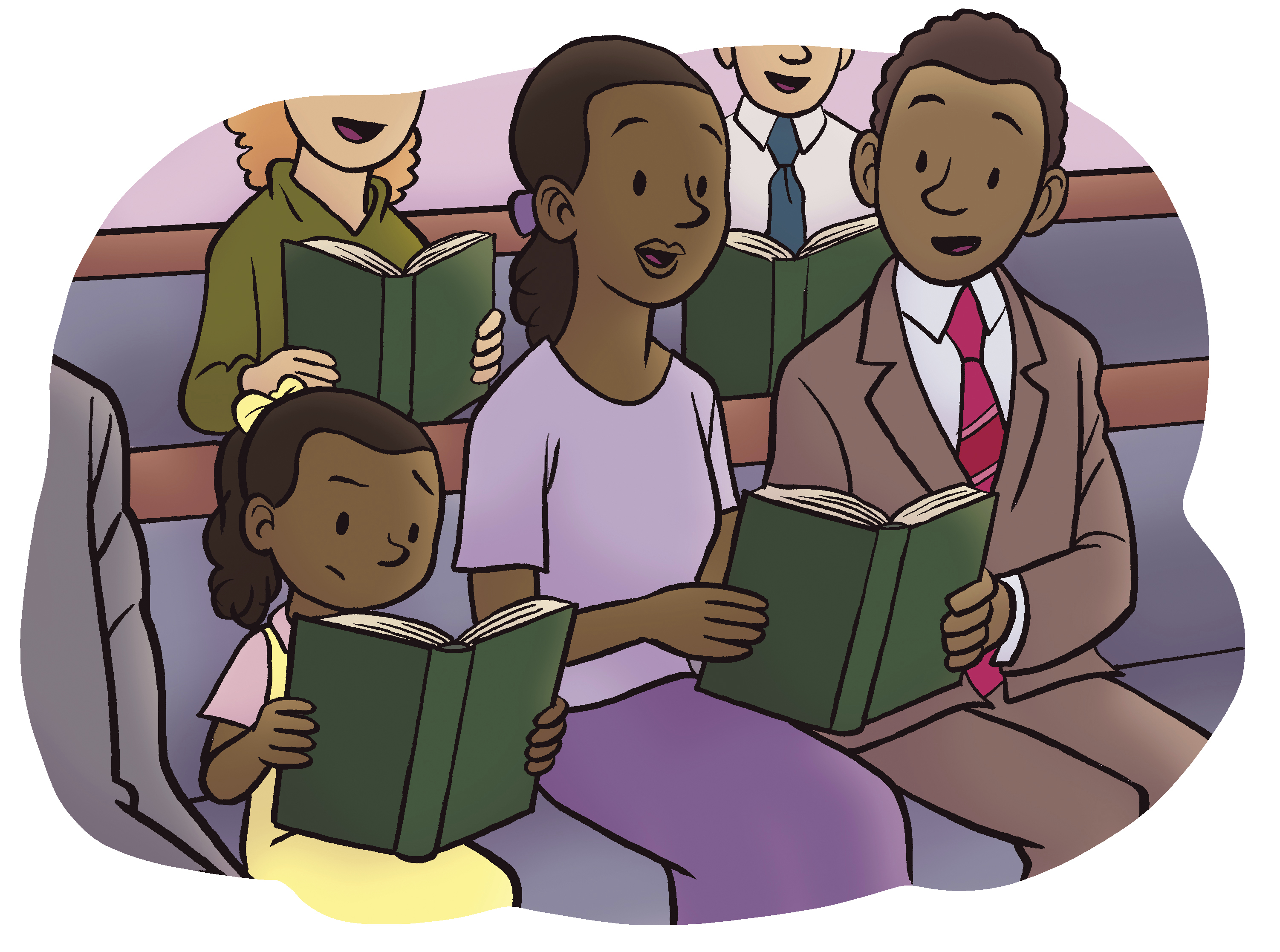 A mother, father, and daughter sing from hymnbooks at church.