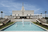 The entire front side of the Mexico City Mexico Temple, including the large fountain in the foreground.
