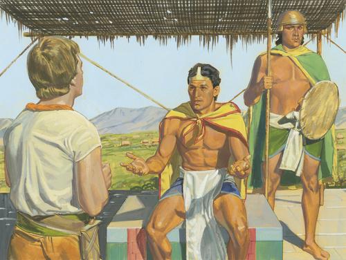 King Lamoni speaking to Ammon