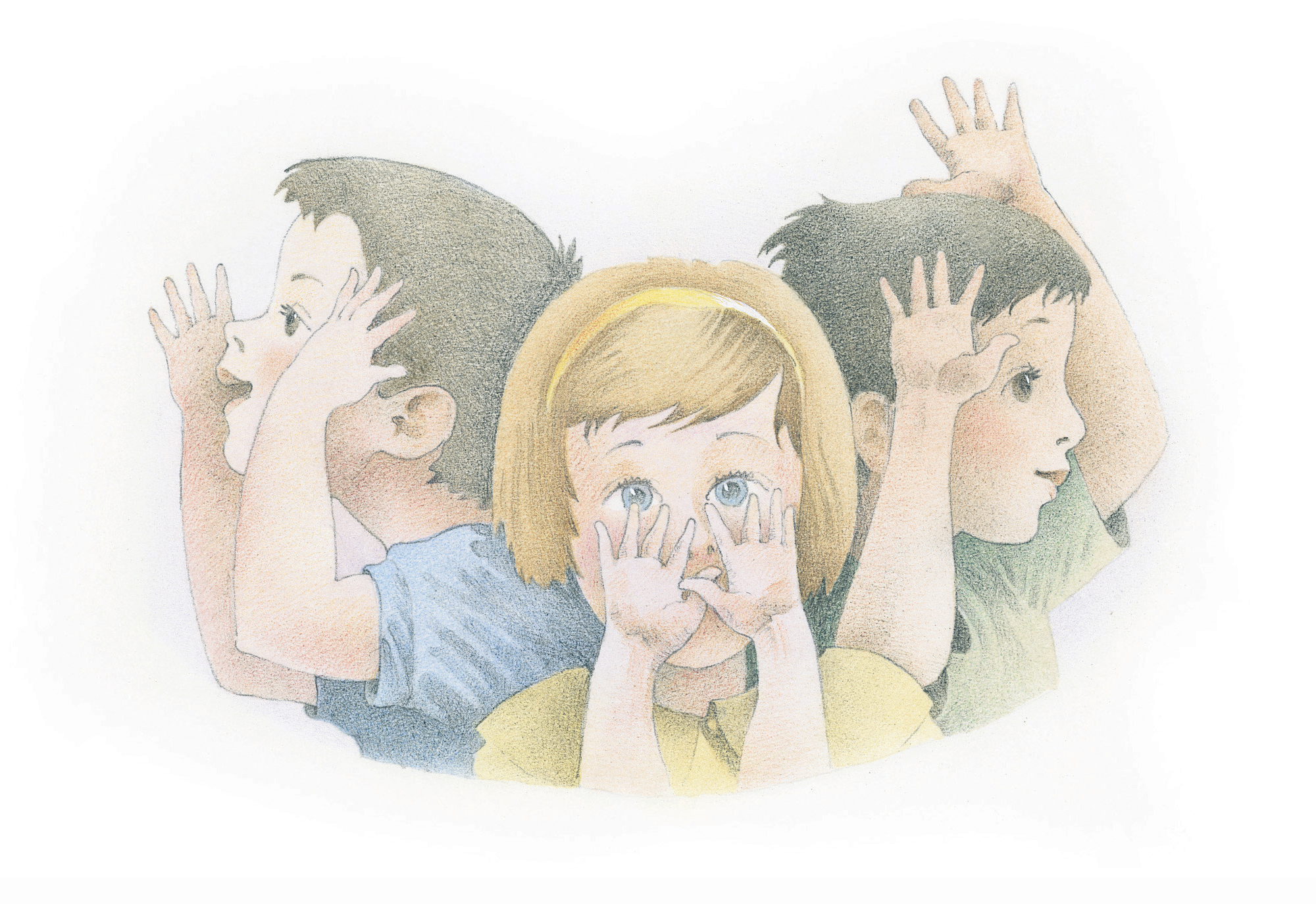 """Three children singing and doing hand motions. From the Children's Songbook, page 273, """"My Hands""""; watercolor illustration by Richard Hull."""