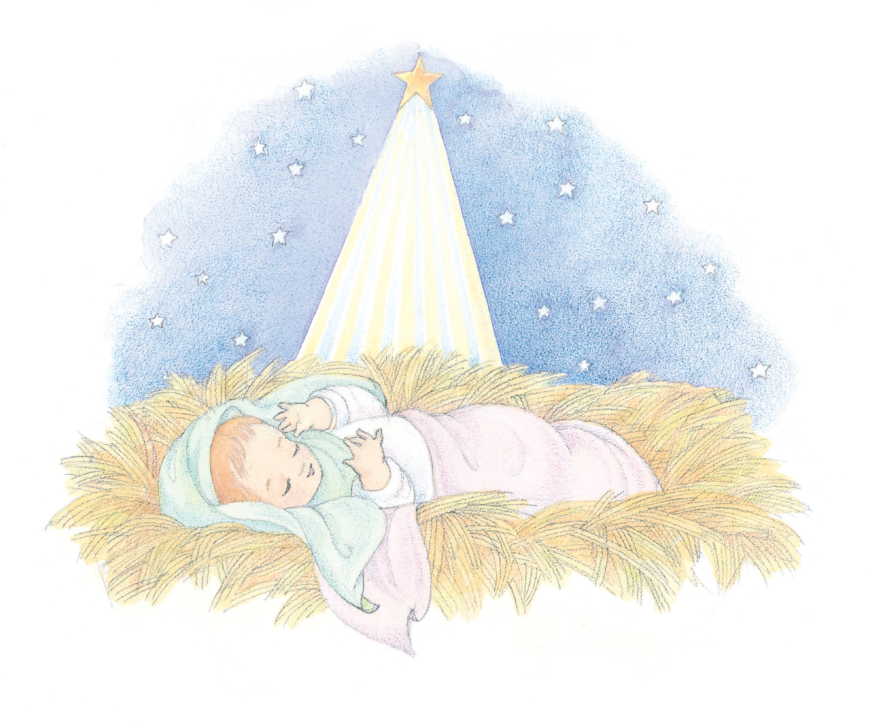 """The baby Jesus asleep in a manger. From the Children's Songbook, page 42, """"Away in a Manger""""; watercolor illustration by Phyllis Luch."""
