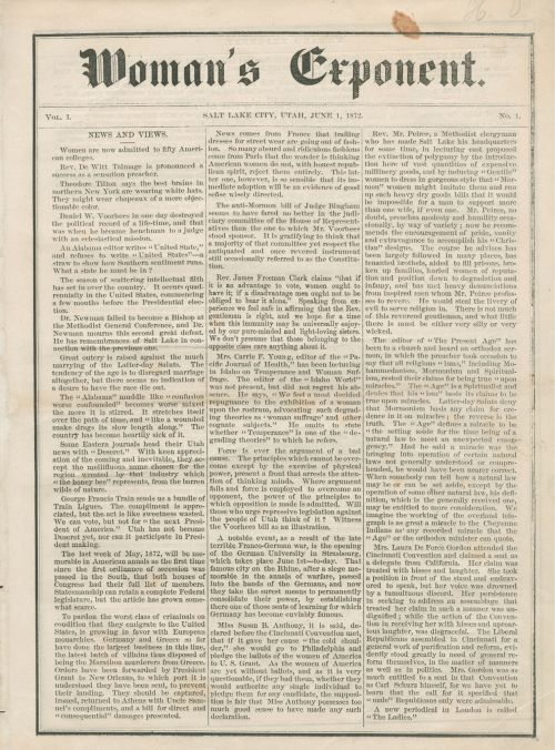 First Issue of Woman's Exponent