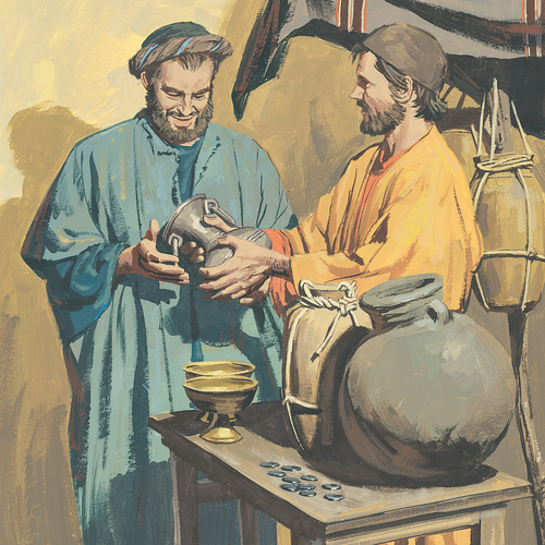 man buying jar from another man