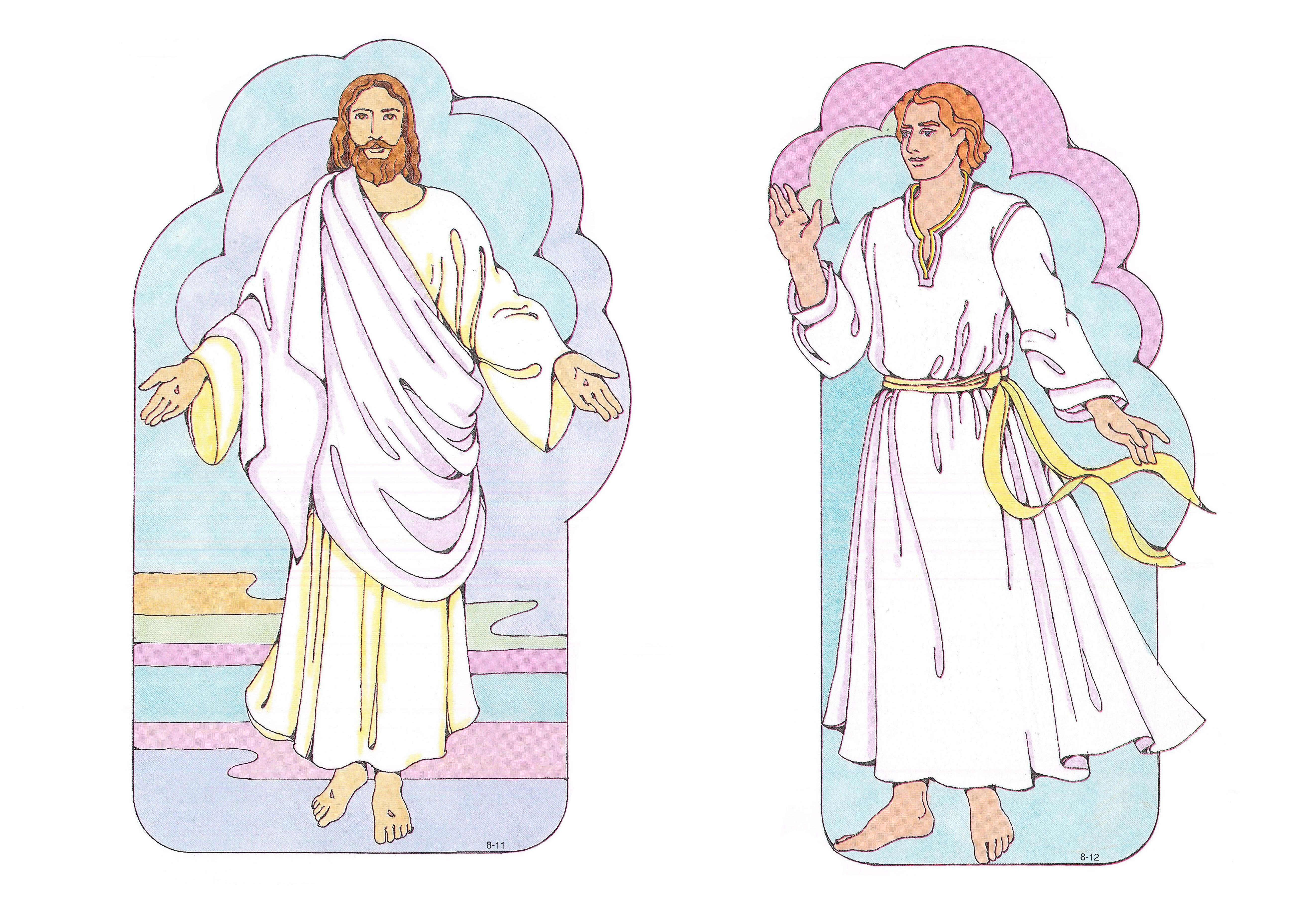 Primary Visual Aids: Cutouts 8-11 Resurrected Christ; 8-12 Angel.