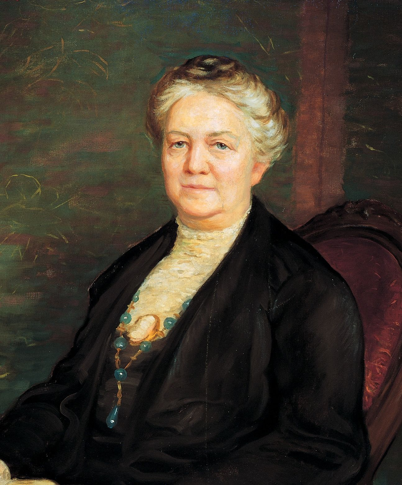 A portrait of Clarissa Smith Williams, who was the sixth general president of the Relief Society from 1921 to 1928; painted by Lee Greene Richards.