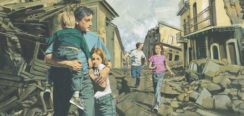 family walking through ruins