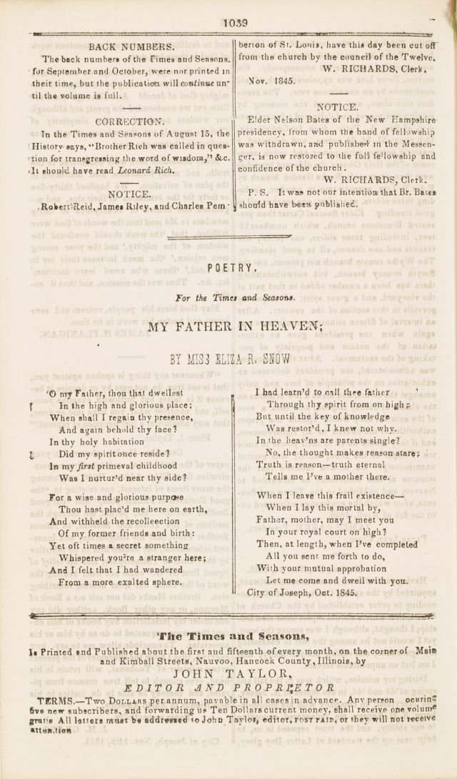 "Eliza R. Snow poem ""My Father in Heaven"""
