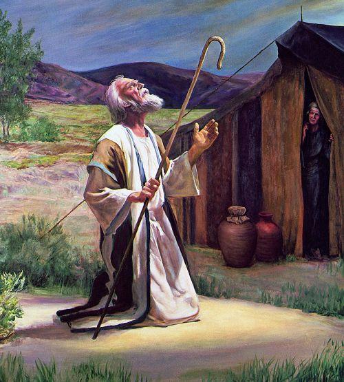 Abraham kneeling