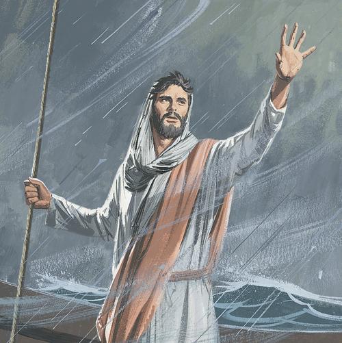Jesus commanding storm