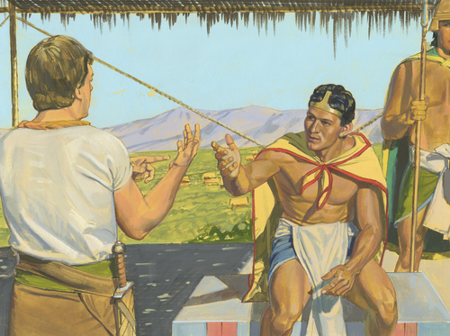 Ammon talking to King Lamoni