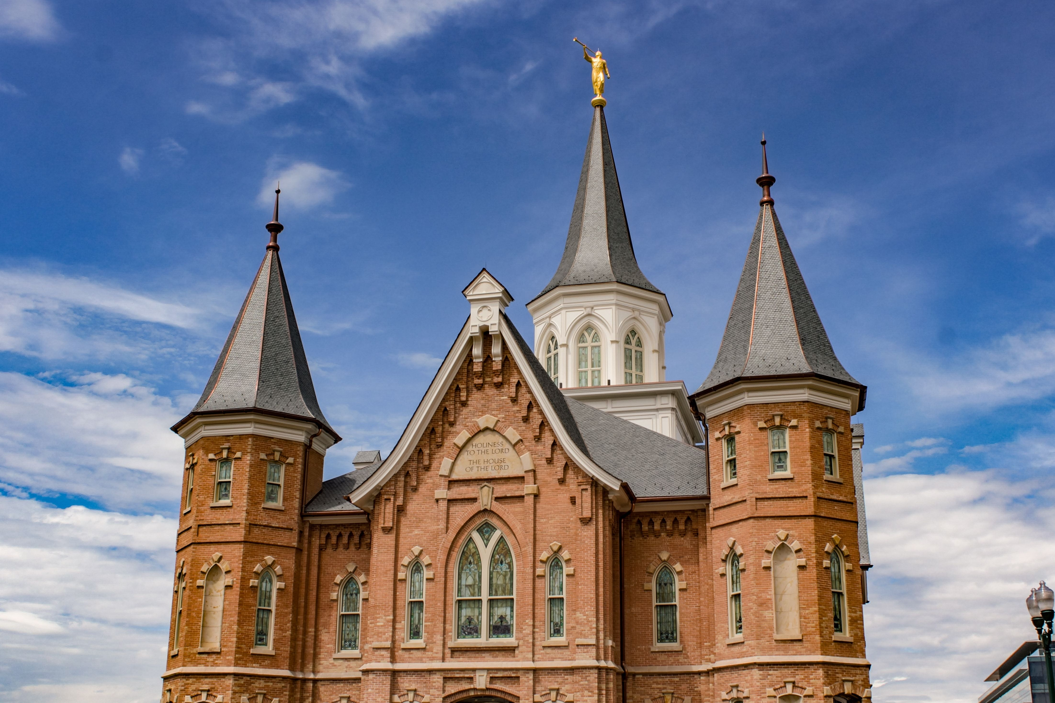 A front view of the Provo City Center Temple during the day.