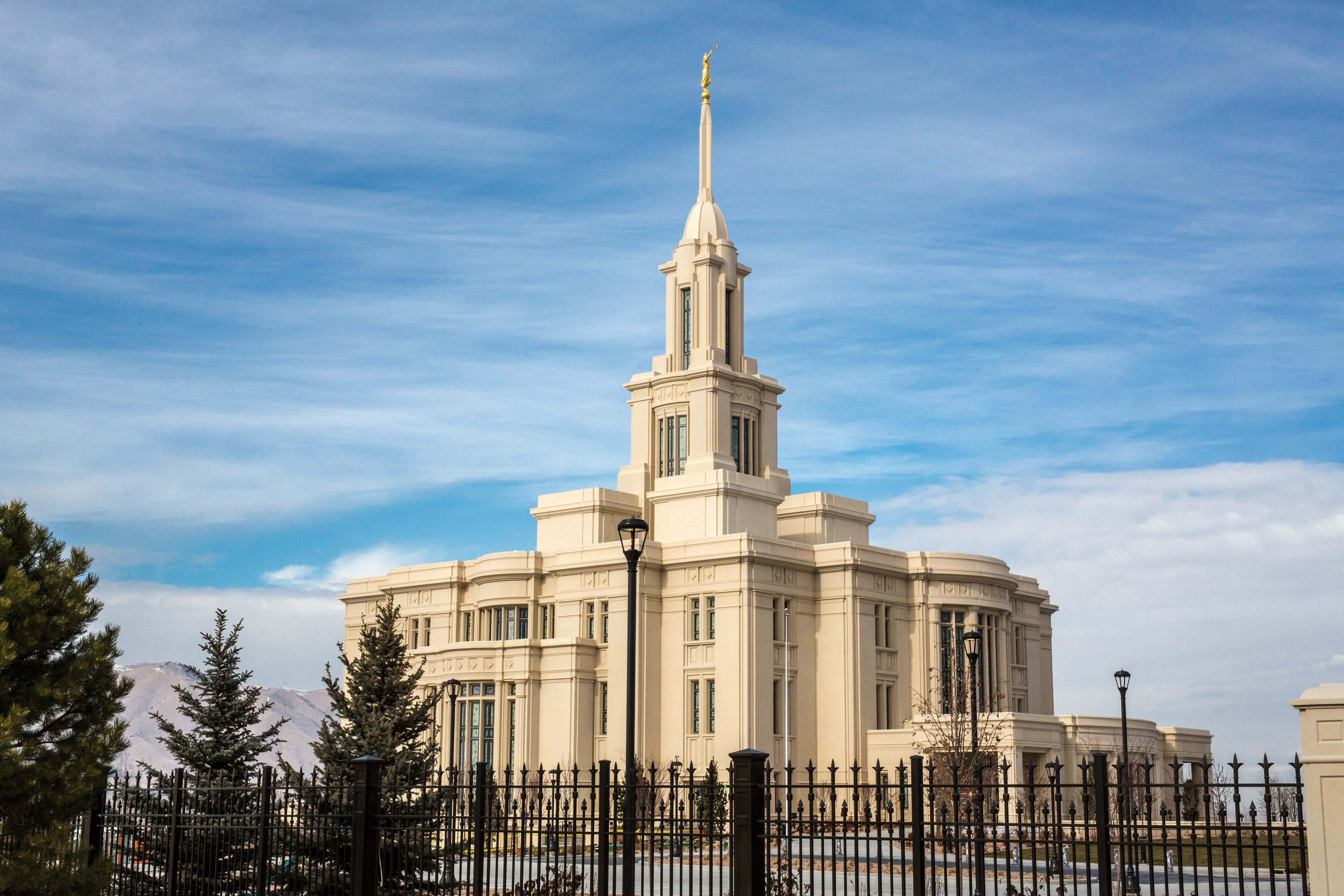 An angle view of the Payson Utah Temple during the day.