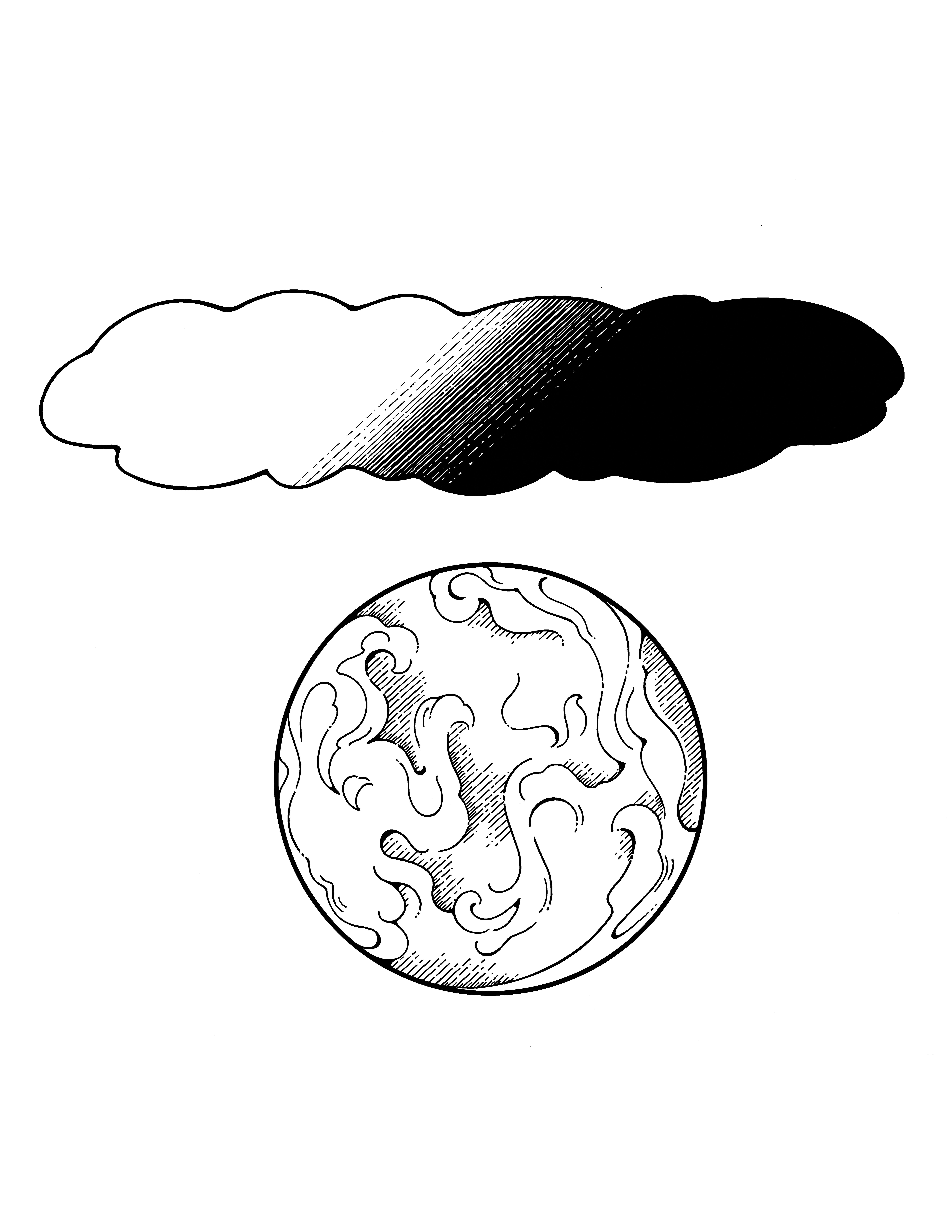An illustration of the earth with a cloud of light and darkness above it.