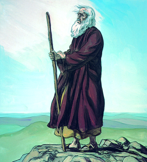Moses overlooking land of Canaan