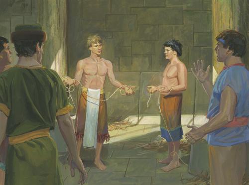 Alma and Amulek breaking ropes