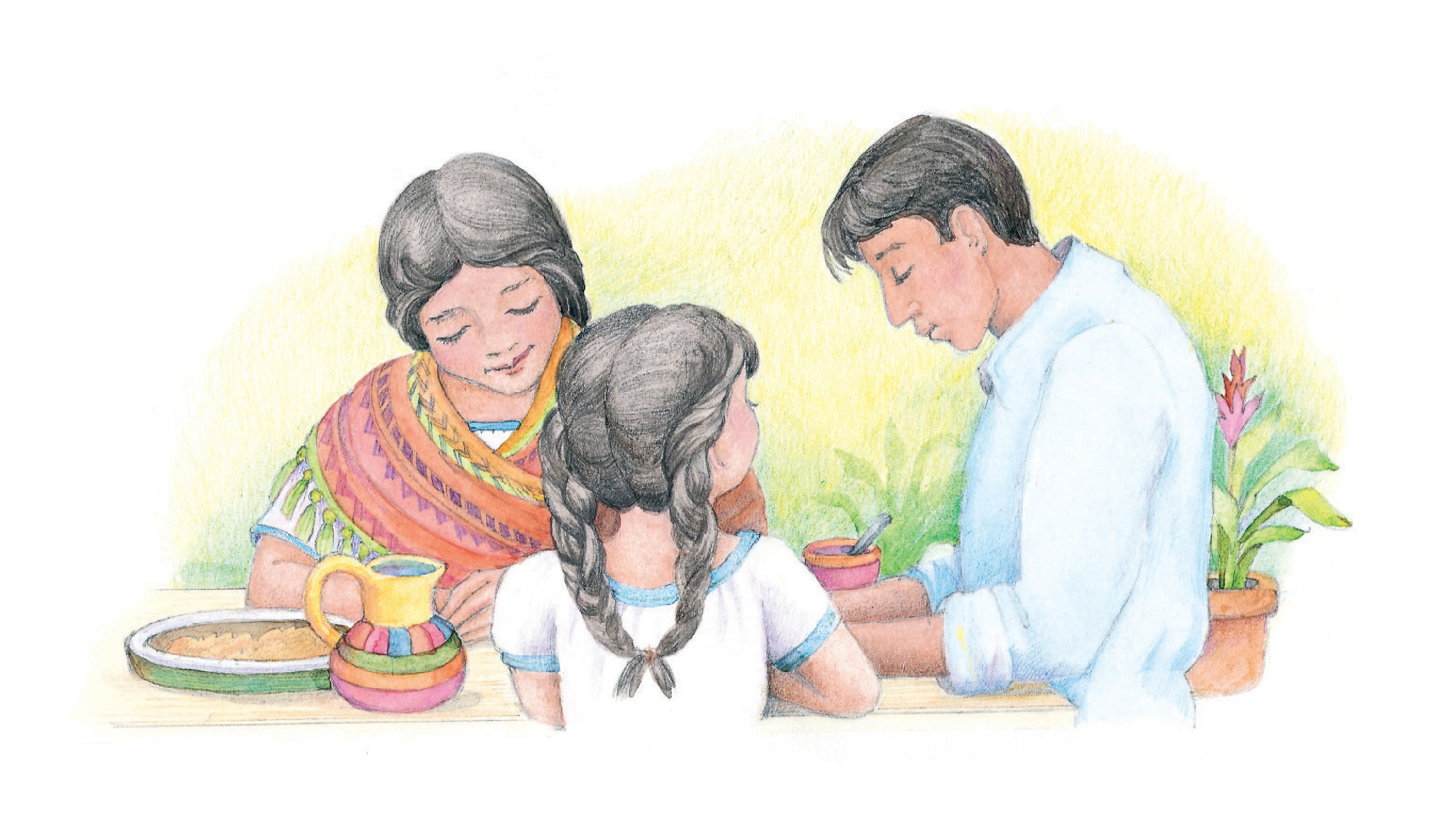 """A family praying at the table together. From the Children's Songbook, page 21, """"For Health and Strength"""" and """"For Thy Bounteous Blessings""""; watercolor illustration by Phyllis Luch."""