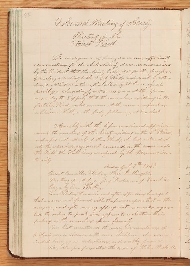 Relief Society Meeting Minutes, July 7, 1843