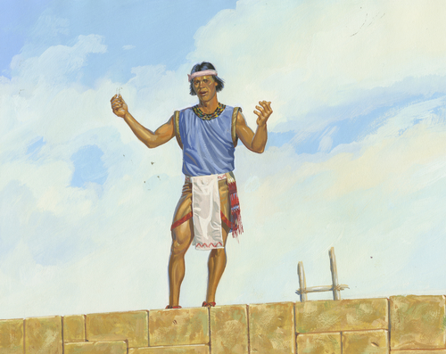Samuel preaching from wall