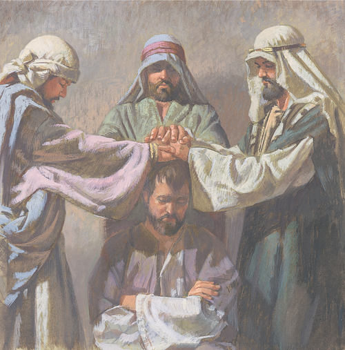 man being ordained by Apostles