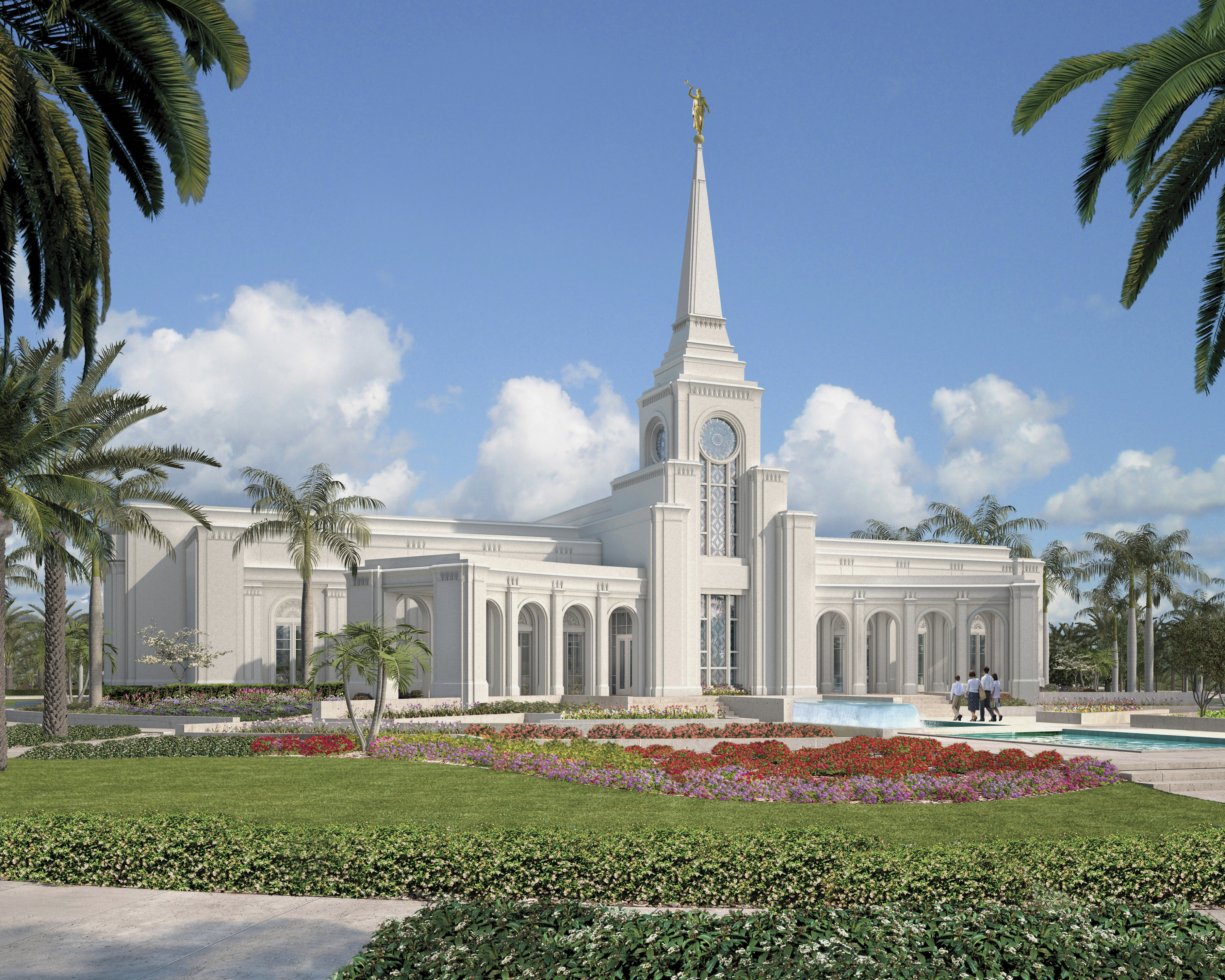 An artist's rendition of the Fort Lauderdale Florida Temple and temple grounds.