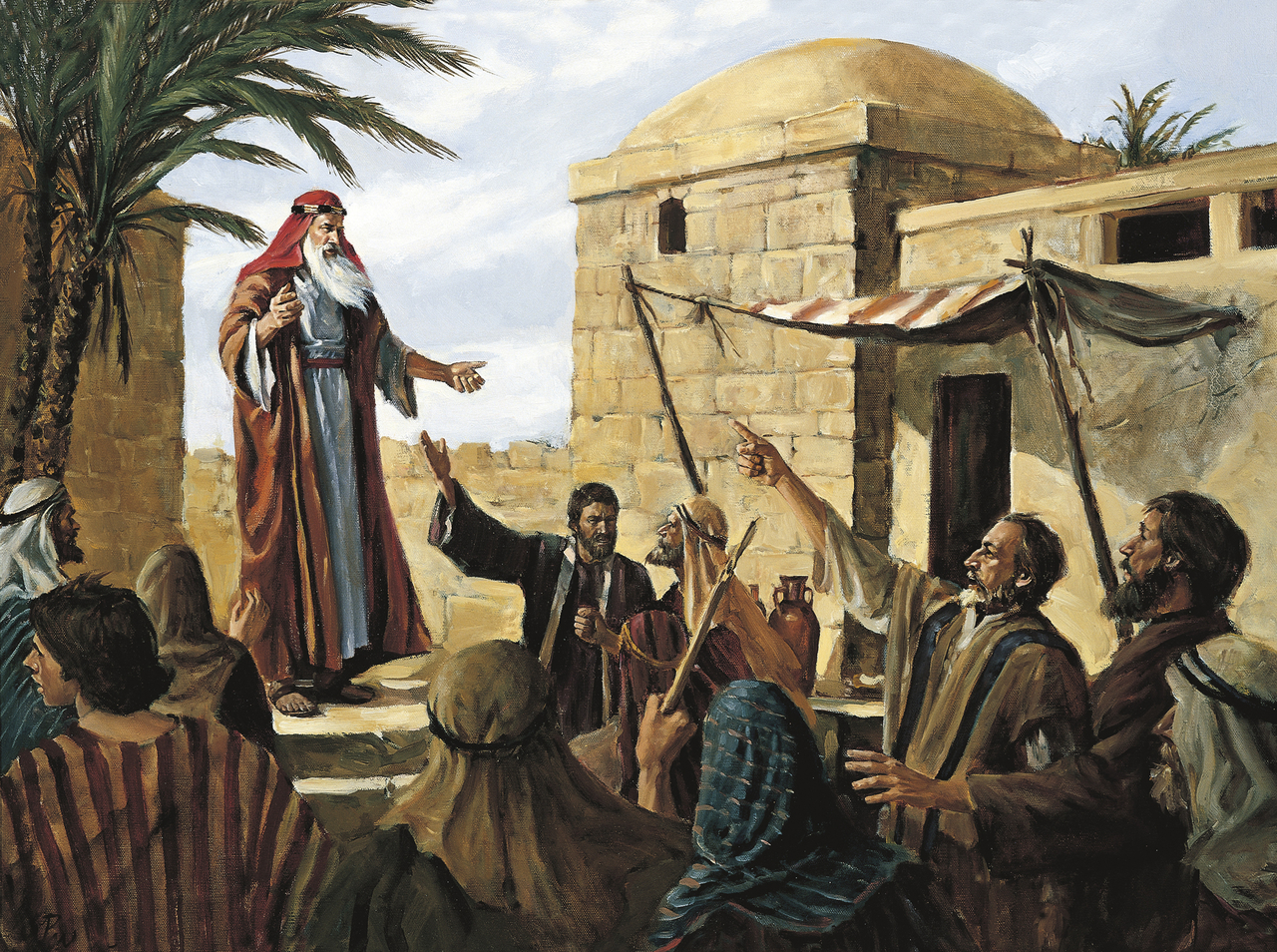 The Book of Mormon prophet Lehi teaches the people of Jerusalem they must repent or be destroyed by Babylon