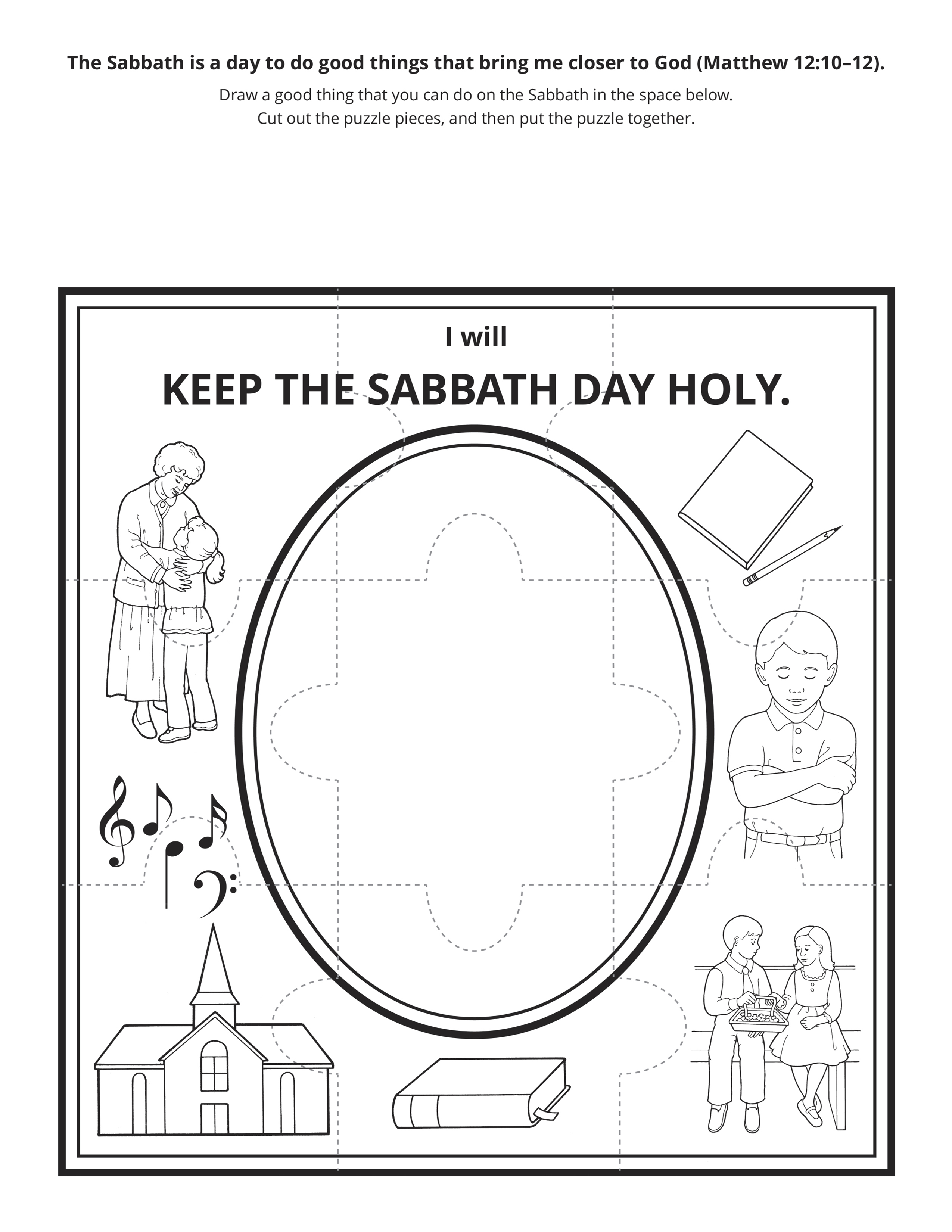 An illustration of ways to keep the Sabbath day holy.