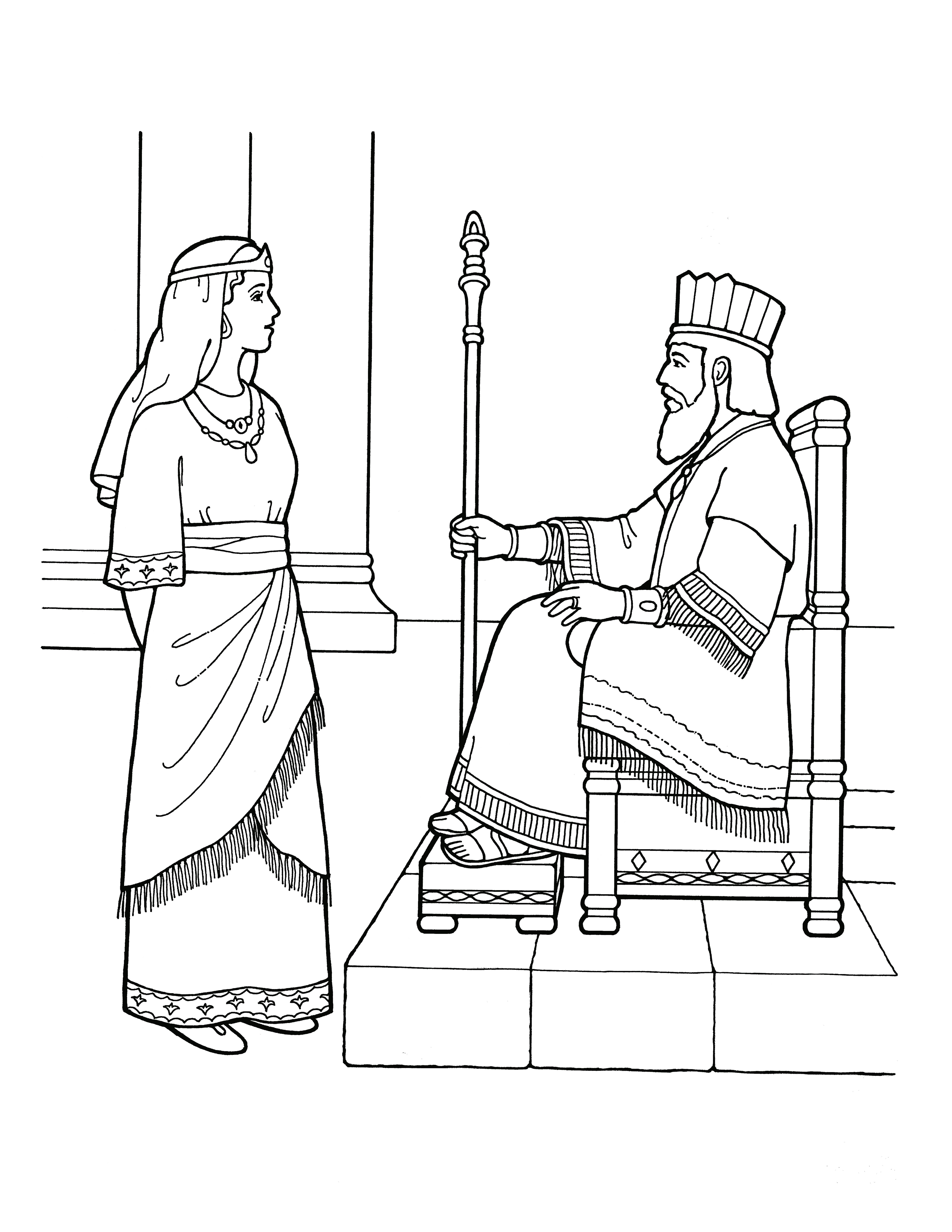 An illustration of Esther before the king.