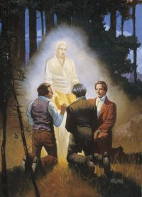 An angel showing the gold plates to Joseph Smith, Oliver Cowdrey and David Whitmer