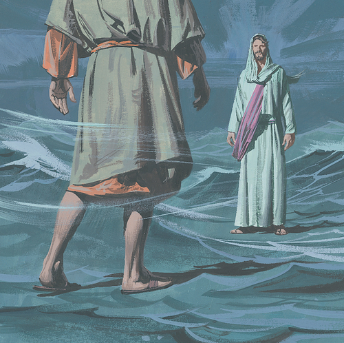 Peter and Jesus walking on water