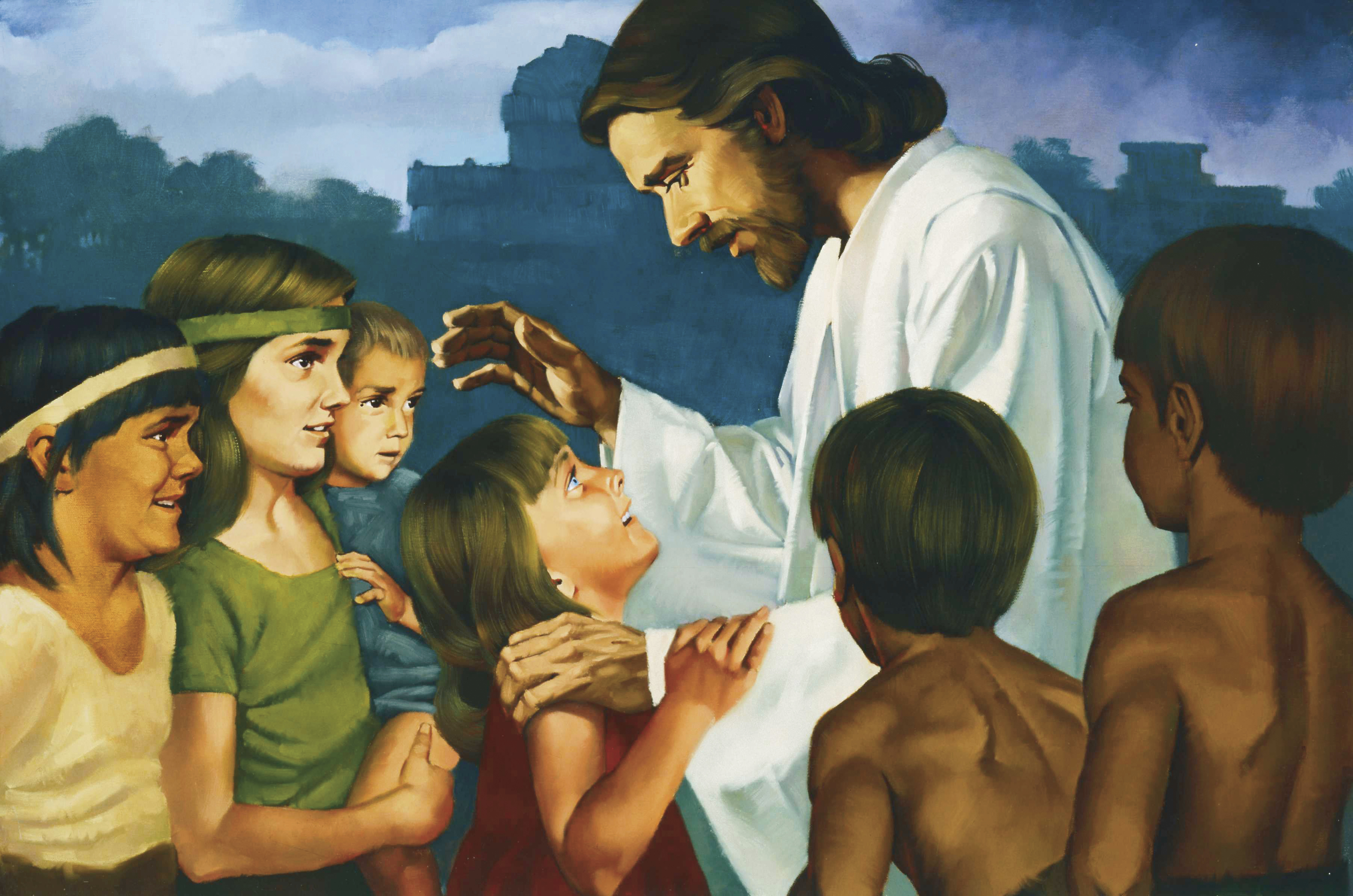 Christ Blessing the Nephite Children (Jesus Christ Blessing the Nephite Children), by Ted Henninger; Primary manual 1-20; Primary manual 3-57