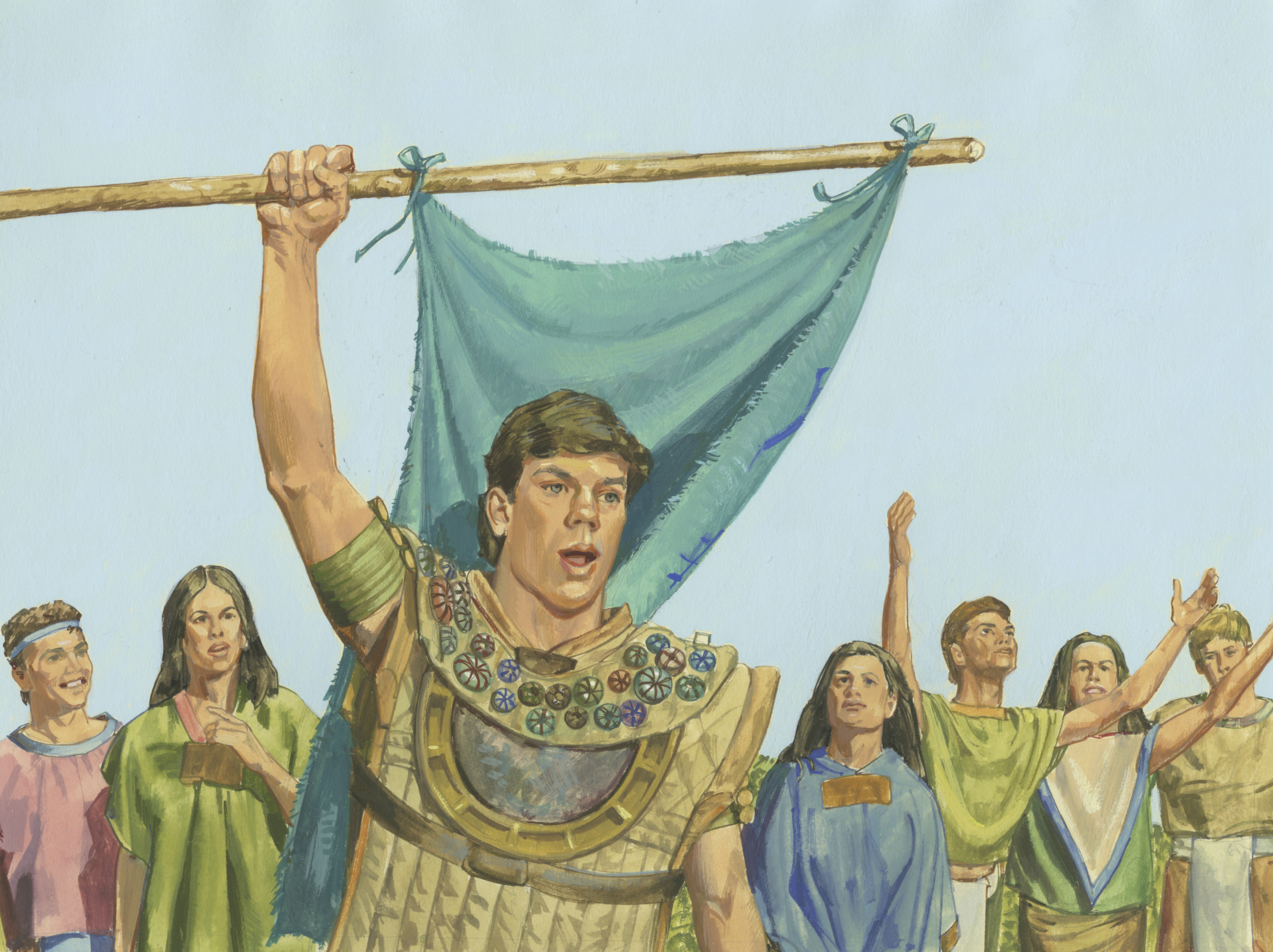 A painting by Jerry Thompson depicting Captain Moroni raising the title of liberty; Primary manual 4-39