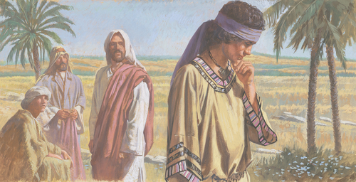young man turning away from Jesus