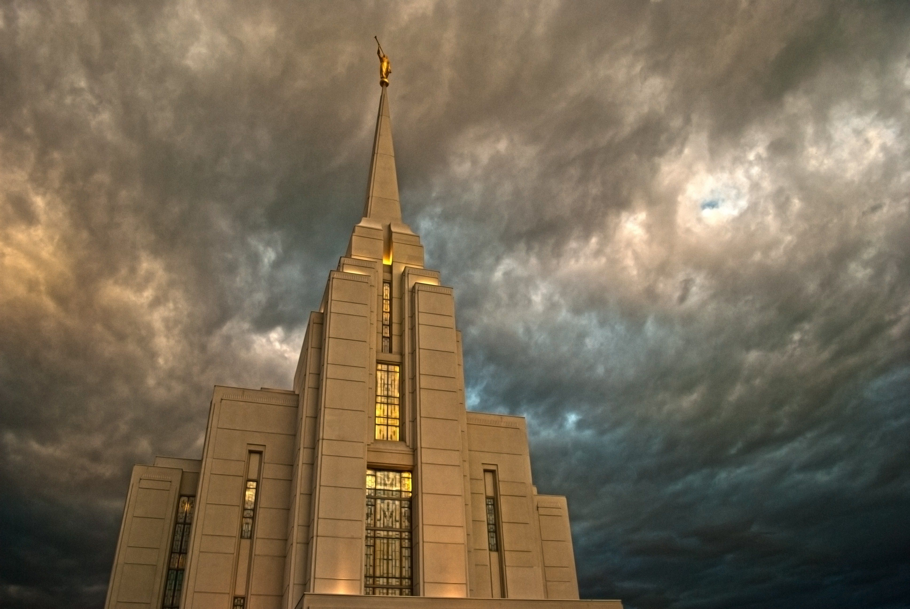 The Rexburg Idaho Temple during a storm.