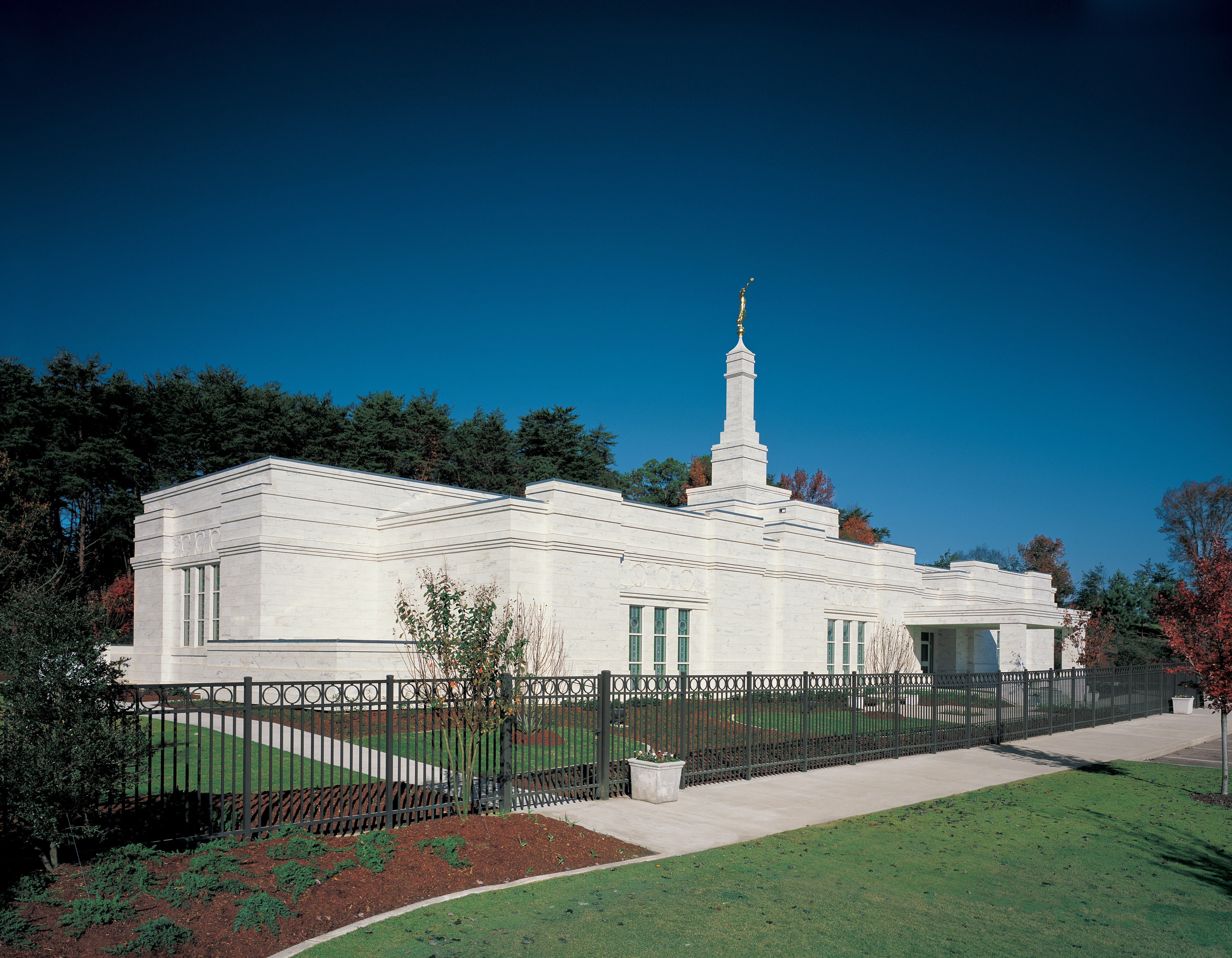 The Birmingham Alabama Temple and surrounding landscape.