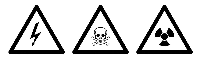 An illustration of three common warning symbols: electrocution risk, poison, and radioactivity.