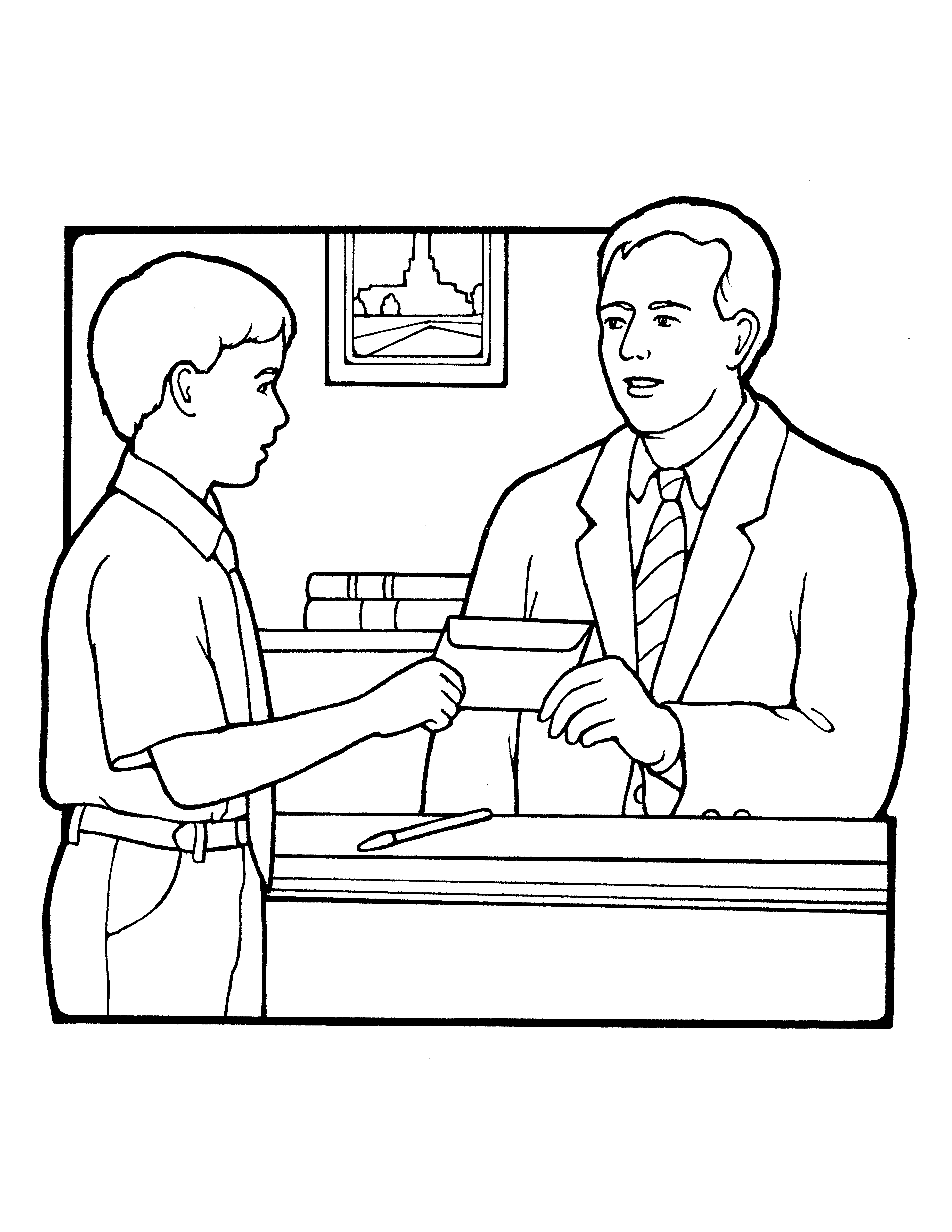 A black-and-white illustration of a young boy handing a tithing envelope to his bishop in the bishop's office.