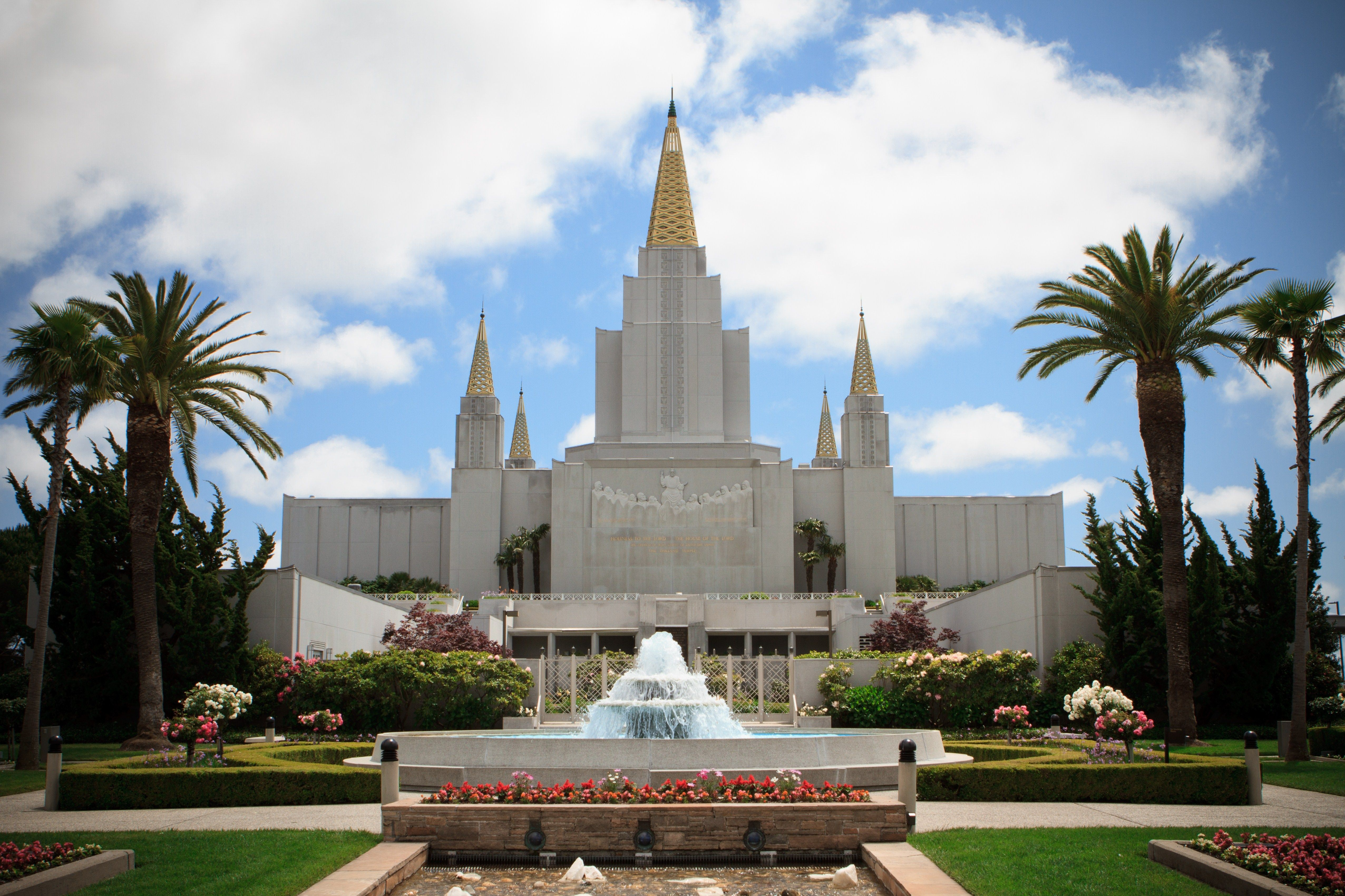 The entire Oakland California Temple, including the fountain, entrance, and scenery.