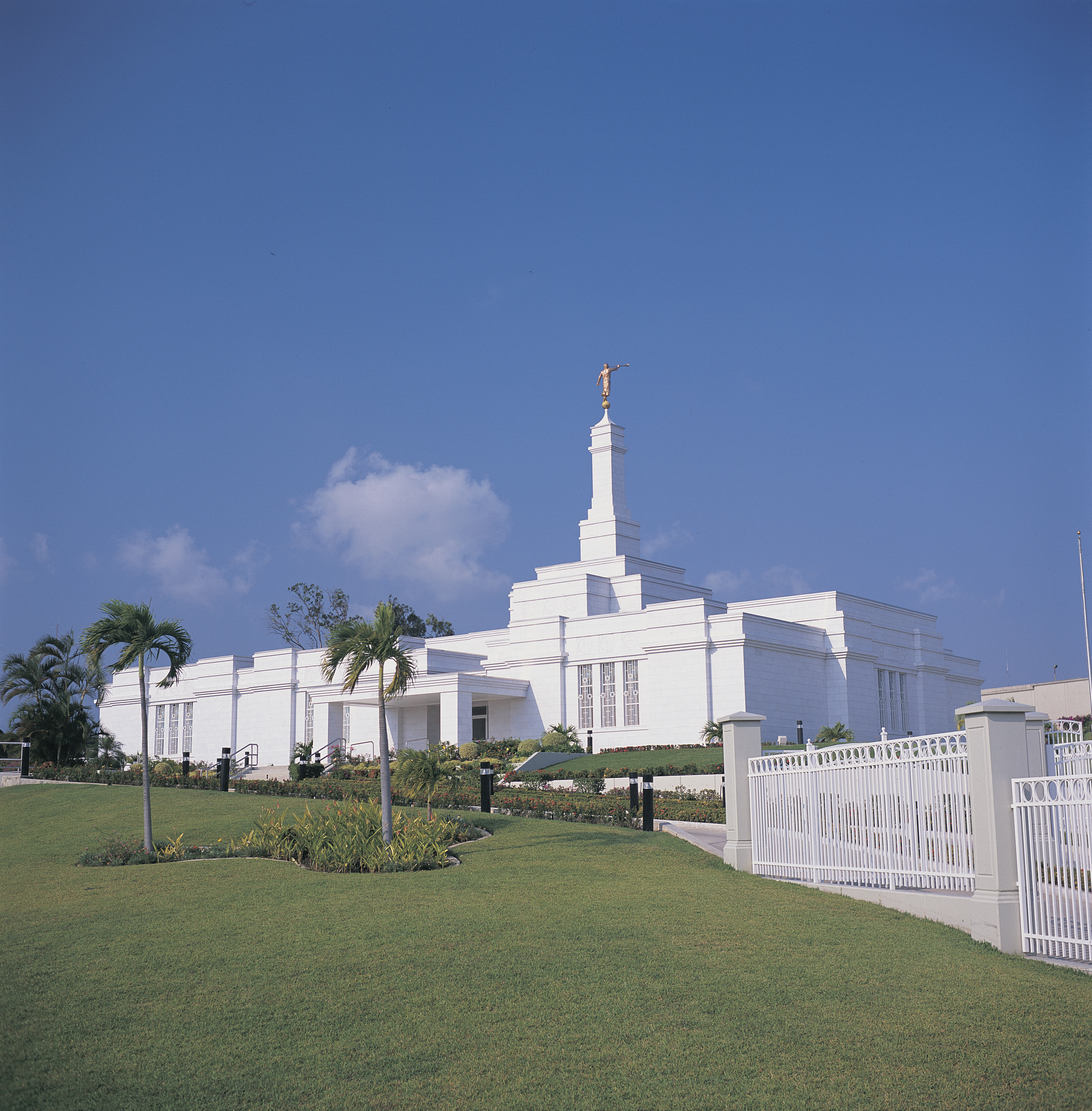 The Tampico Mexico Temple, including the scenery and entrance.