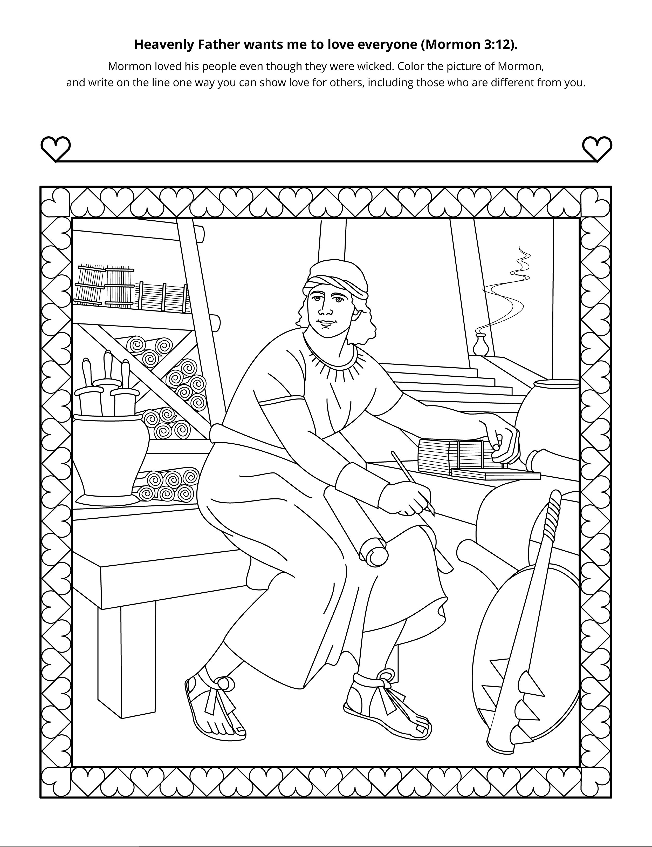 A line-art drawing of Mormon.
