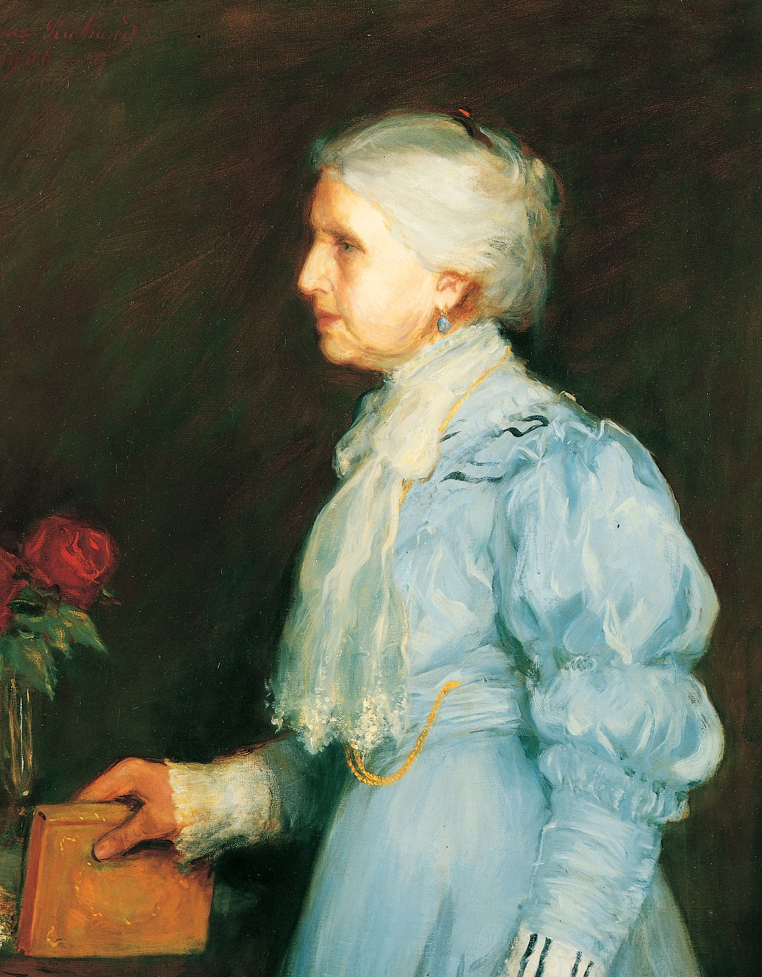 A portrait of Emmeline B. Woodward Wells, who was the fifth general president of the Relief Society from 1910 to 1921; painted by Lee Greene Richards.