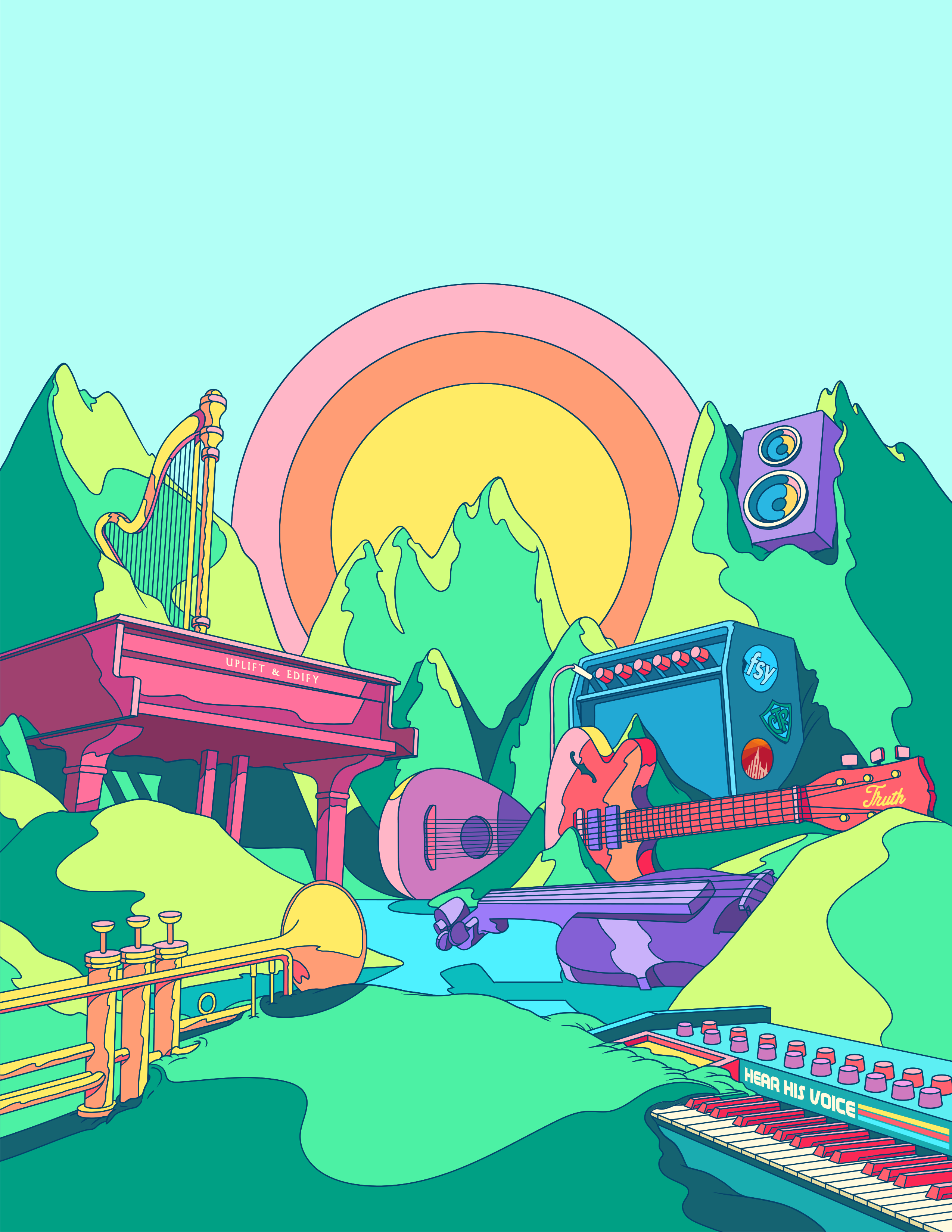 July youth event poster depicts colorful musical instruments.