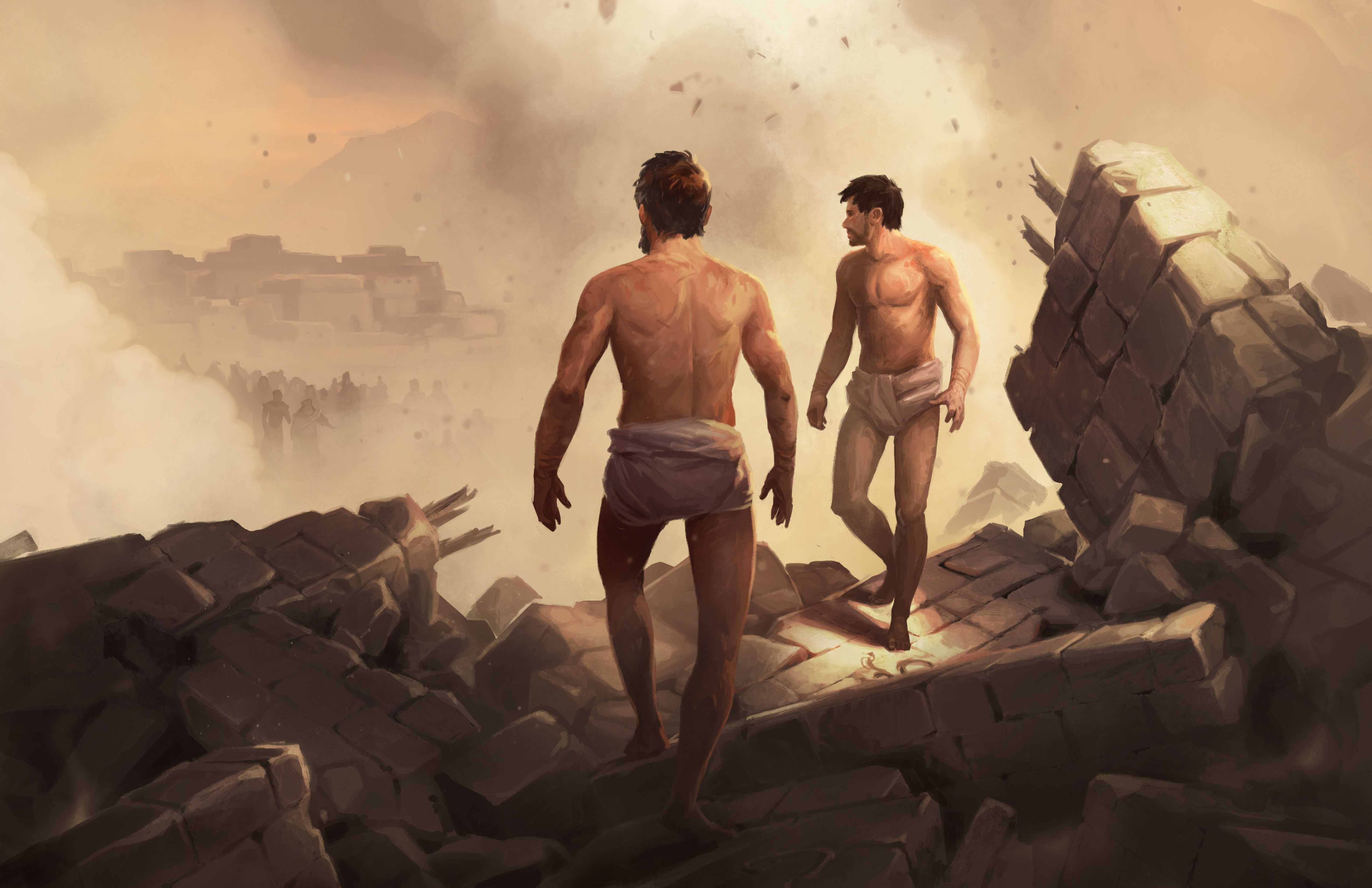 Alma and Amulek walking out of the prison rubble. Created by Andrew Bosley.