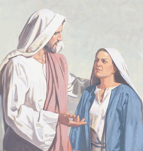 Jesus talking to Mary
